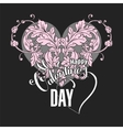 Valentines day card with floral elements vector image