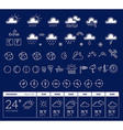 white weather theme big icon set with wee vector image