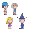 Retro cartoon kids children boys and girls icons vector image