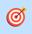 arrow in center of board flat target icon vector image