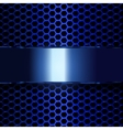 blue metallic banner geometric pattern of hexagons vector image