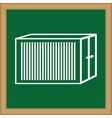 board shape with silhouette of warehouse icon vector image