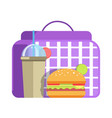school lunch with big hamburger and cup of sweet vector image
