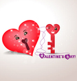 Valentine key and lock hearts vector image