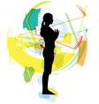 Woman meditating and doing yoga vector image vector image