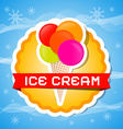 Ice Cream on Orange Label Abstract Colorful vector image