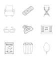 Films and cinema set icons in outline style Big vector image