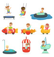 children ride on attractions in the amusement park vector image vector image