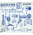 music doodle icons vector image