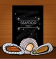 Seafood menus on a blackboard written in chalk for vector image