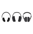 set of flat headphone vector image