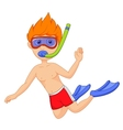 Snorkeling kid cartoon vector image