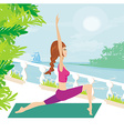 Woman in pose practicing yoga vector image