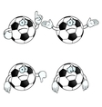 Sad cartoon football set vector image vector image
