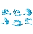 Blue water waves symbols vector image