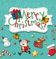 Christmas theme with santa and snowman vector image