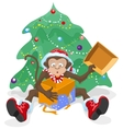Monkey opened the box with gifts Monkey symbol vector image vector image