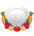 Vegetables and round plate vector image vector image
