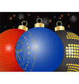 Christmas baubles close up background vector image