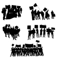 Cheering or protesting crowd silhouettes vector image