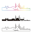Edirne skyline linear style with rainbow vector image vector image