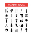 makeup tools thin line icons linear vector image