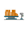 Packing boxes on warehouse weigher icon vector image