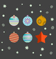 set of retro decorative christmas balls vector image
