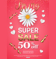 spring sale banner with chamomile gold ribbon vector image