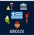 Traditional Greece symbols and culture icons vector image