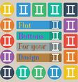 Gemini icon sign Set of twenty colored flat round vector image