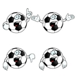 Crying cartoon football set vector image