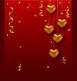 Valentines Day card design with hanging gold heart vector image