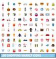 100 shopping market icons set cartoon style vector image