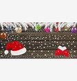 background with christmas balls santa hat vector image