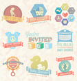 Baby Shower Invitation Labels and Icon vector image vector image