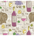 Beige seamless patterns with red wine set vector image