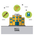 color poster of back to school with school bulding vector image