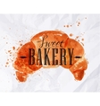 Croissant watercolor poster vector image