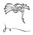 fancy fabulous flying animal dragon black vector image