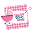 Baby Girl Stroller Invitation Card vector image