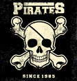 vintage pirate skull mascot vector image vector image