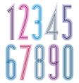 Geometric bright decorative tall striped numbers vector image