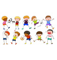 Boys doing different activities vector image vector image