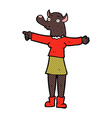 comic cartoon pointing werewolf woman vector image