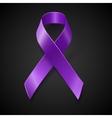 Purple awareness ribbon over black background vector image