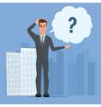 cartoon with bar question mark Business cartoon vector image