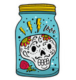 colorful glass jar with skull inside vector image