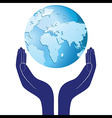 Hands holding a blue earth hope Save planet vector image