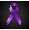 Purple awareness ribbon over black background vector image